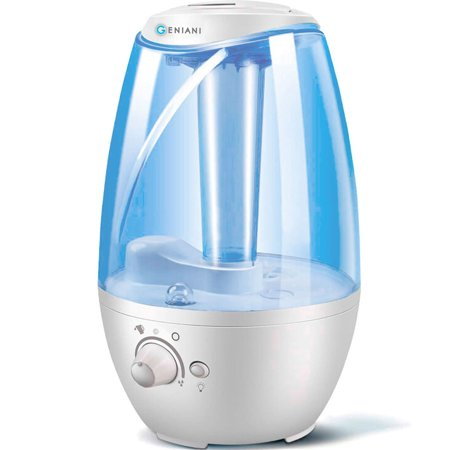 GENIANI Humidifiers - 4L Ultrasonic Cool Mist Humidifier for Bedroom / Home with Night Light - Best Whole House Vaporizer - Large Water Tank - Auto Shut Off & Filter-Free - Gift