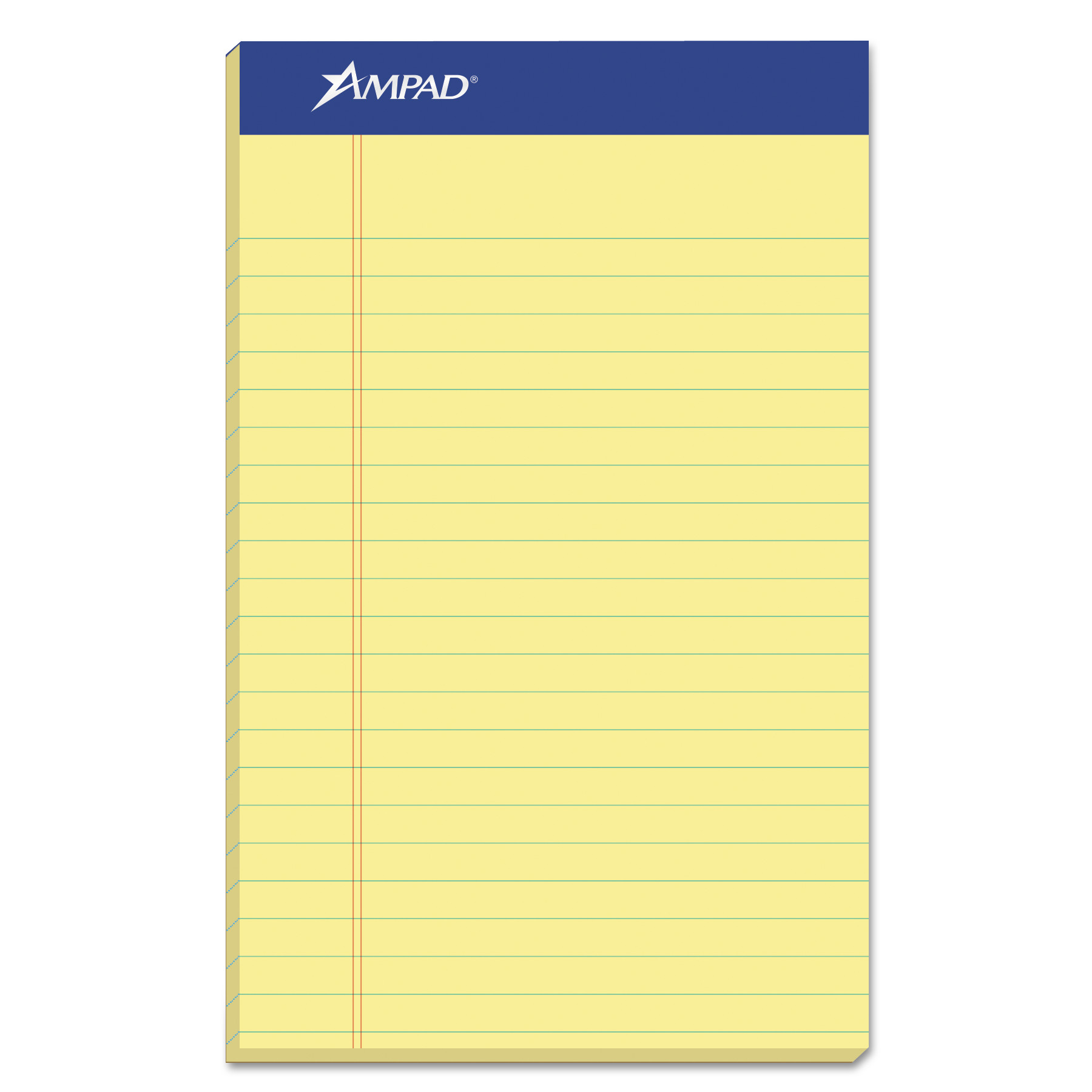 Ampad Perforated Writing Pad, Narrow, 5 x 8, Canary, 50 Sheets, Dozen -TOP20204