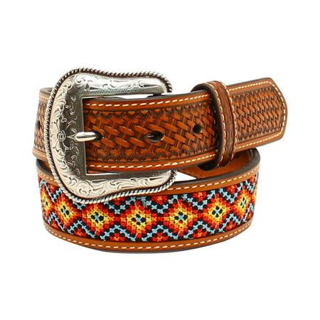 Nocona Boy's Basketweave Multi Color Embroidered Belt Tan