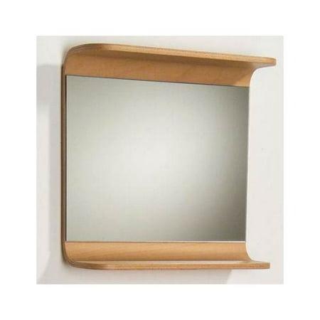 (Aeri Rectangular Wall Mount Mirror w Integral Wood Shelf)
