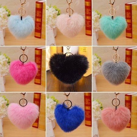 - HiCoup 10cm Cute Faux Fur Ball Pompom Heart Shape Car Phone Keychain Handbag Key Ring