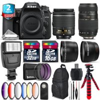 Nikon D7500 DSLR + AF-P 18-55mm VR + Tamron 70-300mm + Slave Flash - 48GB Kit + electronics r us cloth