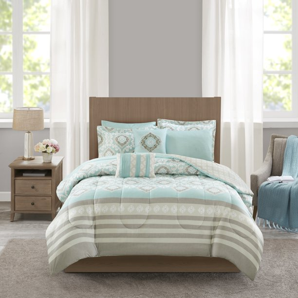 Mainstays 8 Piece Comforter Set With Coverlet Full Queen Aqua