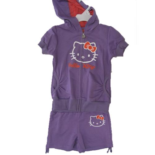 Hello Kitty Little Girls Purple Hooded Zipper 2 Pc Sport Set 4-6X