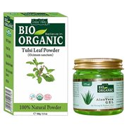 Indus Valley Tulsi Leaf Powder With 100% Organic, Natural and Pure For Skin And Hair With 100% Pure Non-Toxic Aloe Vera Gel (Tulsi Powder 100grams And Aloe Vera Gel 175ml)