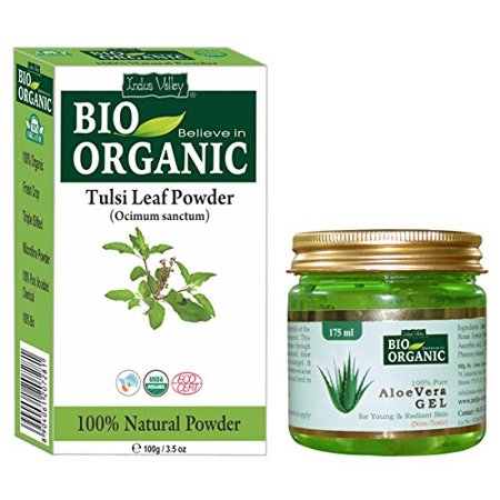 Indus Valley Tulsi Leaf Powder With 100% Organic, Natural and Pure For Skin And Hair With 100% Pure Non-Toxic Aloe Vera Gel (Tulsi Powder 100grams And Aloe Vera Gel