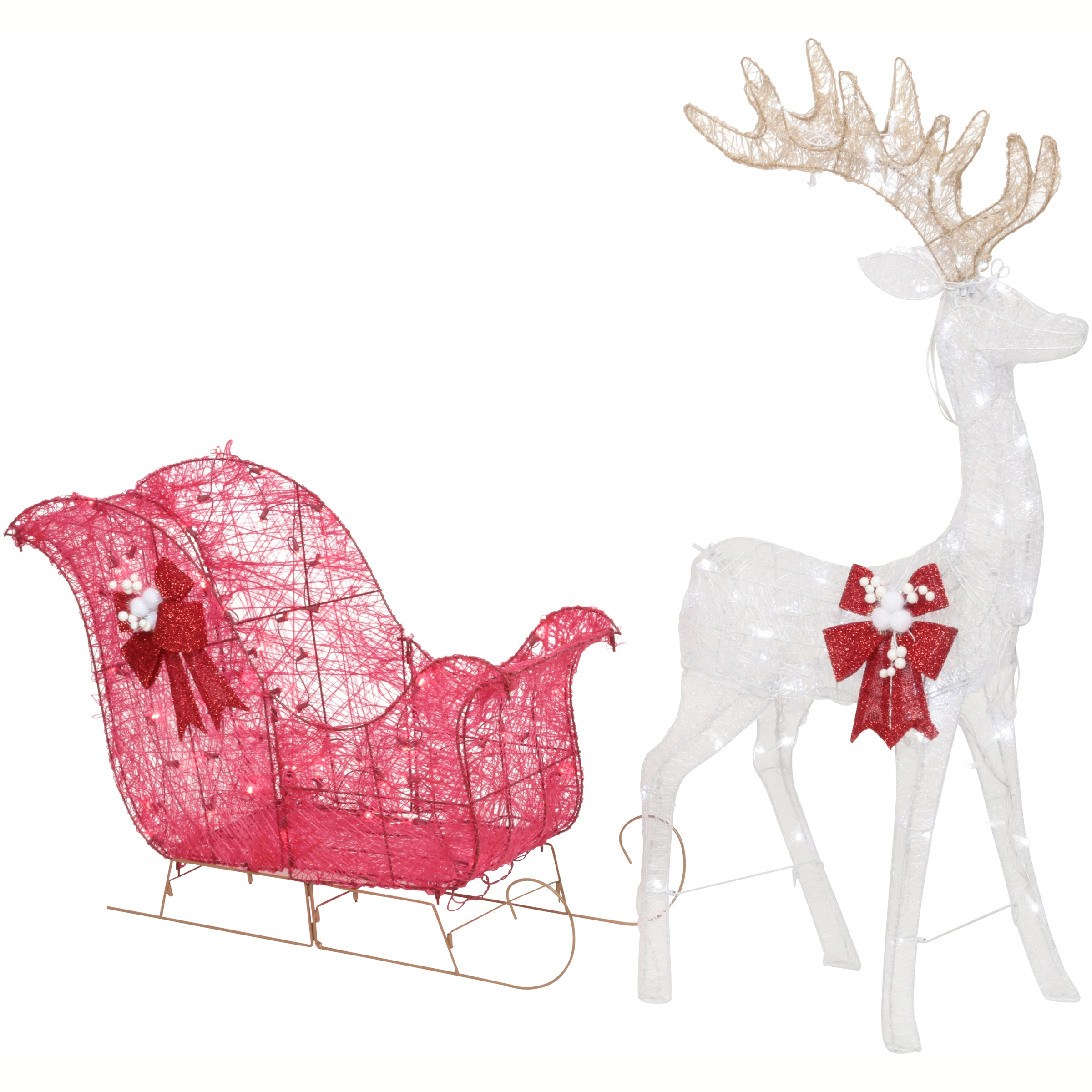 Holiday Time 52 Reindeer And 40 Sleigh With 120 White Led Lights Outdoor Or Indoor Use