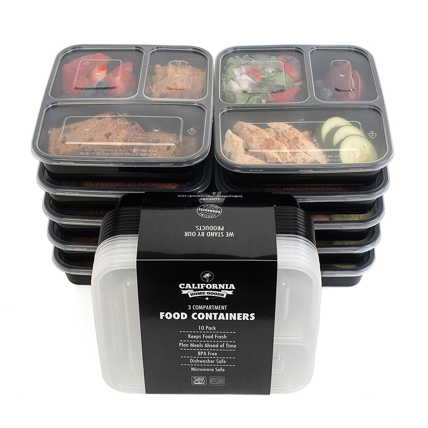 California Home Goods 3 Compartment Bento Reusable Food Storage Containers with Lids, Set of 10, For Meal Prep, Back to School, 21 Day Fix