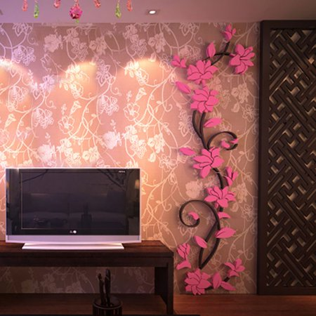 3D Mirror Flower Decal Wall Sticker DIY Removable Art Mural Room Decor (Pink Flower Border)