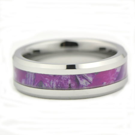 Women's Camo Hunting Camouflage Wedding Band Pink/Purple/Fuchsia 7mm Tungsten Carbide Rings](Orange Camo Wedding Rings)