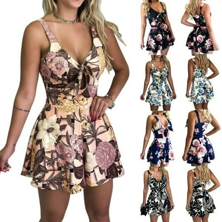 Summer Women Fashion Printed Romper Strap Jumpsuits](Blue Jumpsuit)
