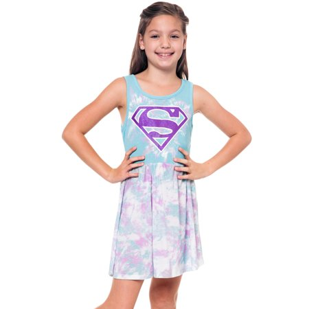 Girls Supergirl Logo Sleeveless Halloween Tank Costume Dress Blue Purple