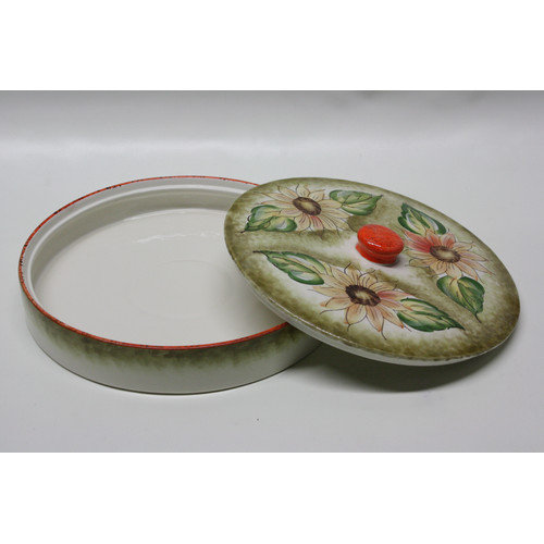 Desti Design Round Ceramic Pita Bread Serving Tray with Lid