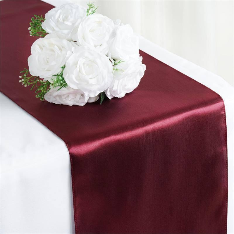 Efavormart 5PCS of Premium SATIN Table Top Runner For Weddings Birthday Party Banquets Decor Fit Rectangle and Round Table