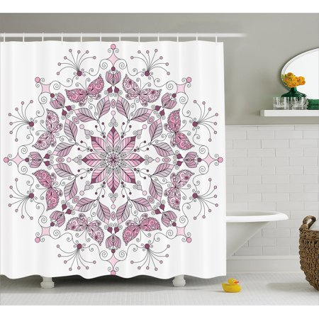 Purple Mandala Shower Curtain Lacy Pastel Floral With Butterfly And Lotus Figures Meditation Design