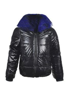 Urban Republic Little Girls Black Blue Detachable Collar Puffer Coat
