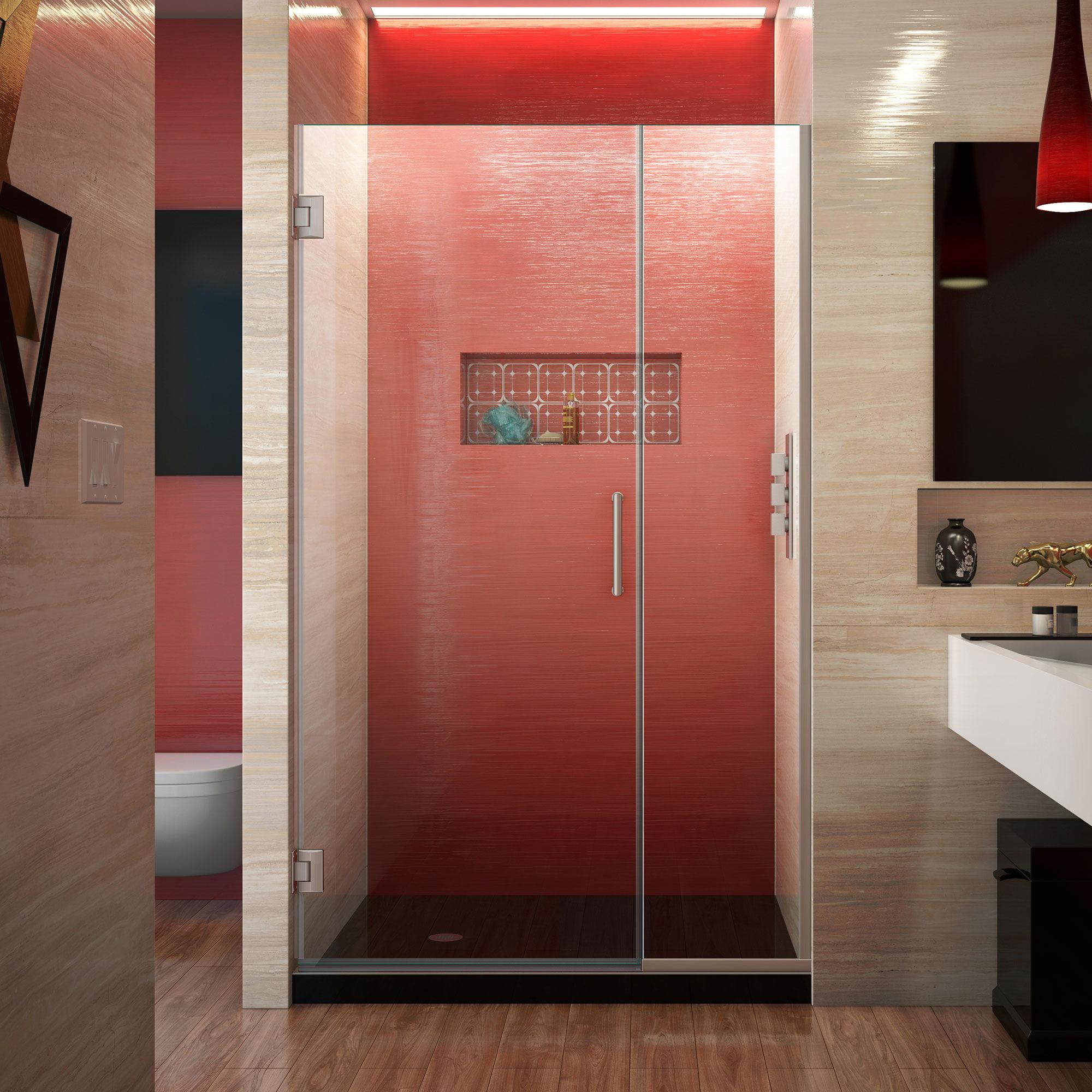 DreamLine Unidoor Plus 39 1/2 - 40 in. W x 72 in. H Frameless Hinged Shower Door in Brushed Nickel