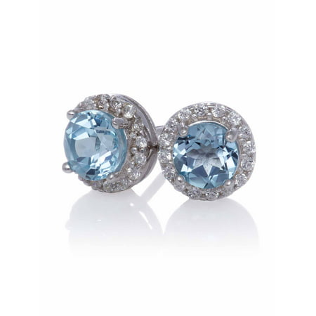 Blue Topaz Stud with Created White Sapphire Halo Earrings