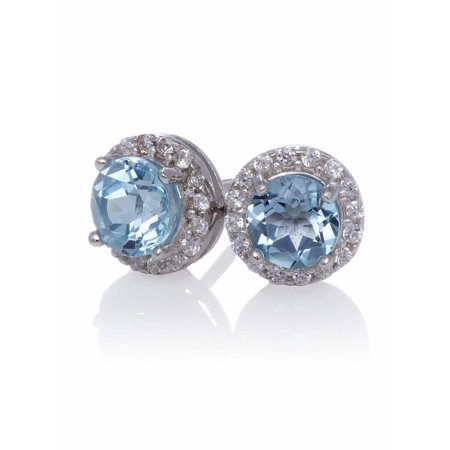 Blue Topaz Stud with Created White Sapphire Halo Earrings Blue Stud Earring Box