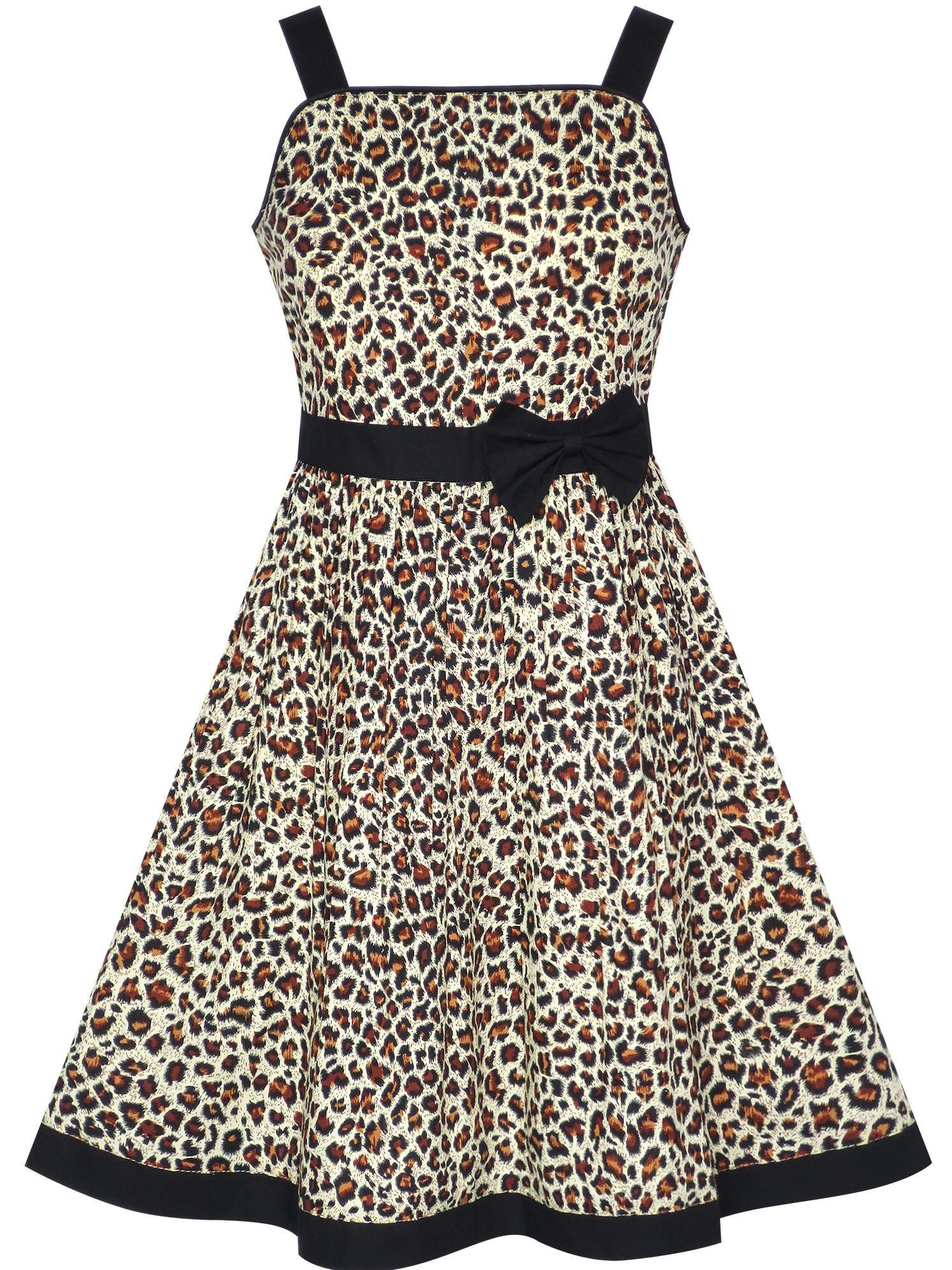 Girls Dress Brown Leopard Print Summer Beach Sundress 7-8