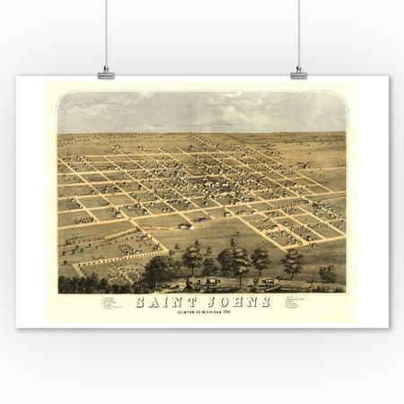 Saint Johns, Michigan - Panoramic Map (9x12 Art Print, Wall Decor Travel Poster) ()