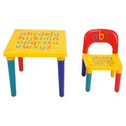 Lv. life 2 piece Table & Chairs Plastic DIY Kids Set Play Toddler Activity Fun Child Toy