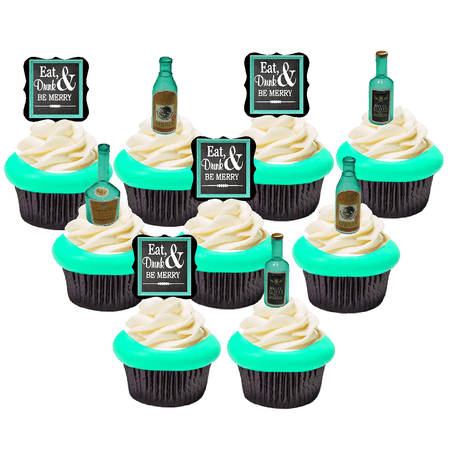 40pack Eat Drink Be Merry With Liquor Bottle Cake Cupcake Extraordinary Liquor Bottle Cake Decorations
