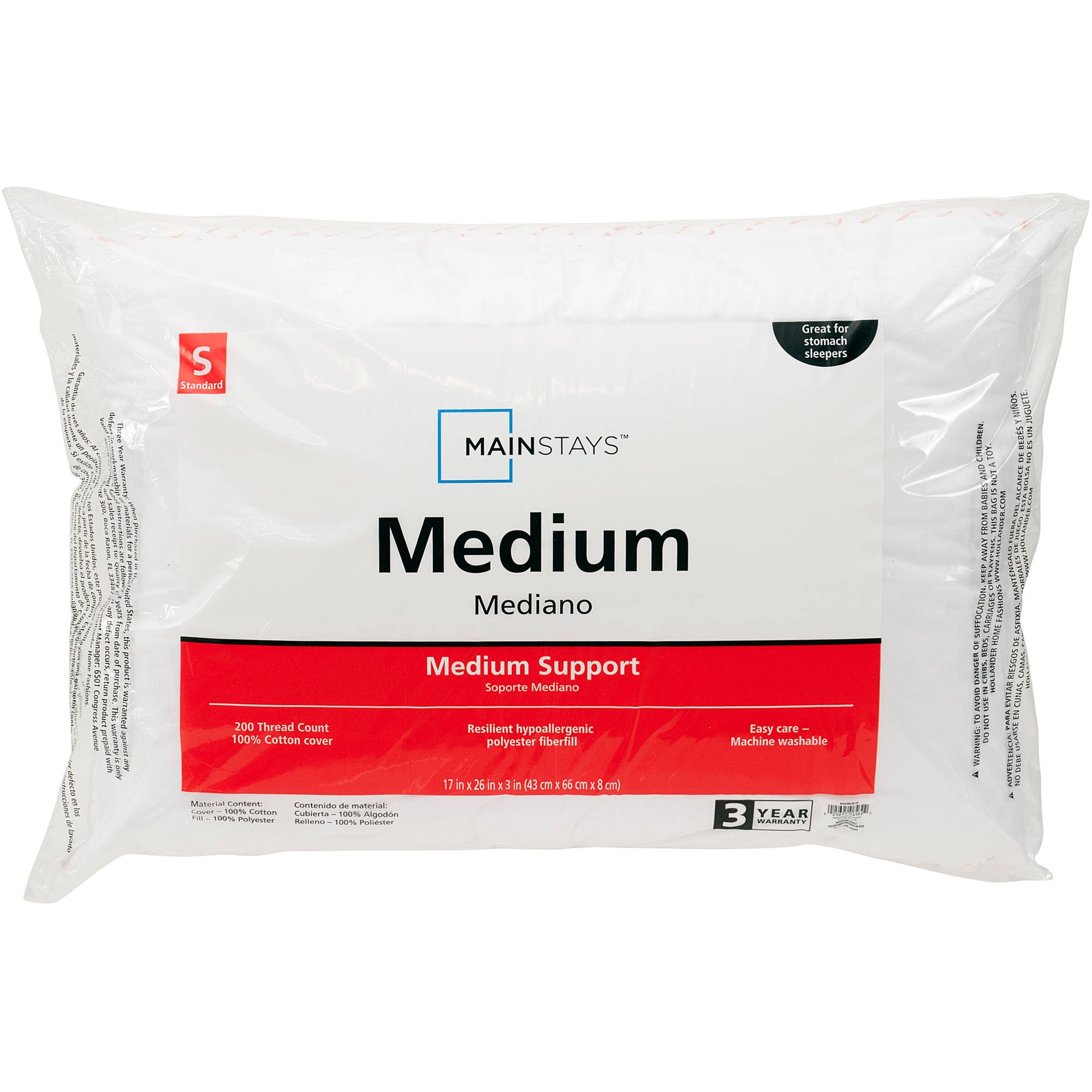 Mainstays 100% Cotton Medium Pillows, Set of 2, Multiple Sizes