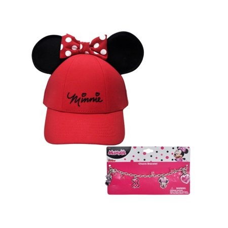 Disney Minnie Mouse Red Hat with Ears & Charm Bracelet (Big Girls)