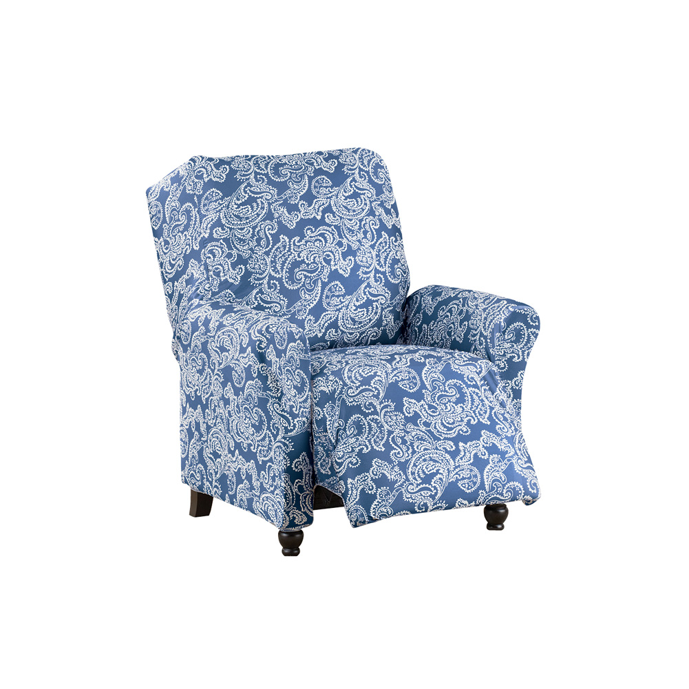 Two-Toned Paisley Stretch Knit Furniture Slipcover, Classic Living Room Decor - Machine Washable