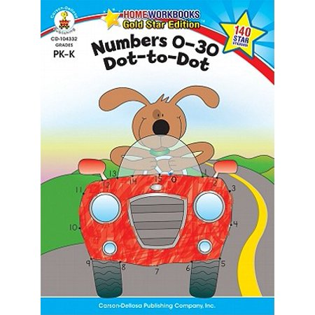 Numbers 0-30: Dot-to-Dot, Grades PK - K : Gold Star Edition - Halloween Color By Number First Grade