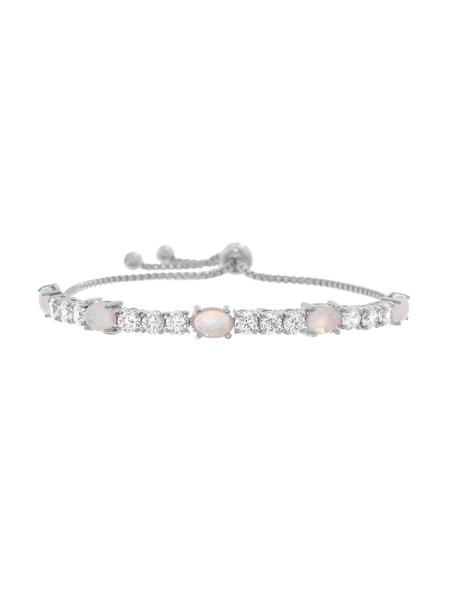 Lesa Michele Lab-Created Opal and Cubic Zirconia Adjustable Slider Bracelet by NES Group