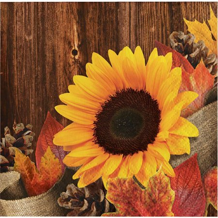 Sunflower Burlap Wood Grain Fall Leaves Autumn Crafts Beverage Napkin Harvest Thanksgiving Weddings, This Autumn Harvest themed Sunflower Beverage Napkin with.., By CEG](Burlap Napkins)