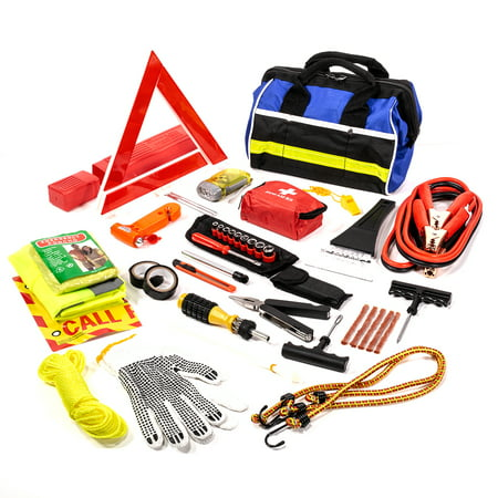97 pc Roadside Assistance Auto Emergency First Aid Kit Tool Cables tire