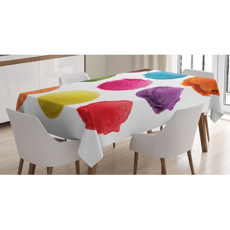 Ice Cream Table (Ice Cream Decor Tablecloth, Ice Cream Toppings with Colorful Various Flavor Yummy Sweet Summer Image, Rectangular Table Cover for Dining Room Kitchen, 60 X 84 Inches, Multicolor, by)
