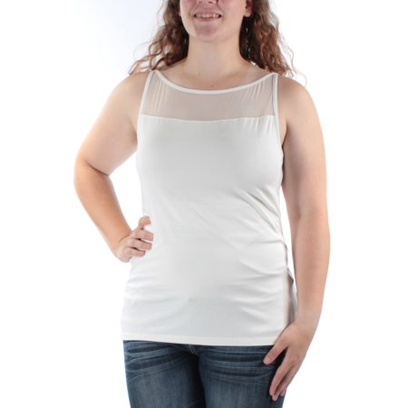 RALPH LAUREN Womens Ivory Sleeveless Illusion Neckline Top Size: XL