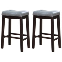 "Angel Line Cambridge 29"" Padded Saddle Stool-Espresso w/ Gray Cushion, Set of 2"
