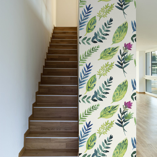 Walls Need Love Leafy Greens Removable 10' x 20'' Floral Wallpaper