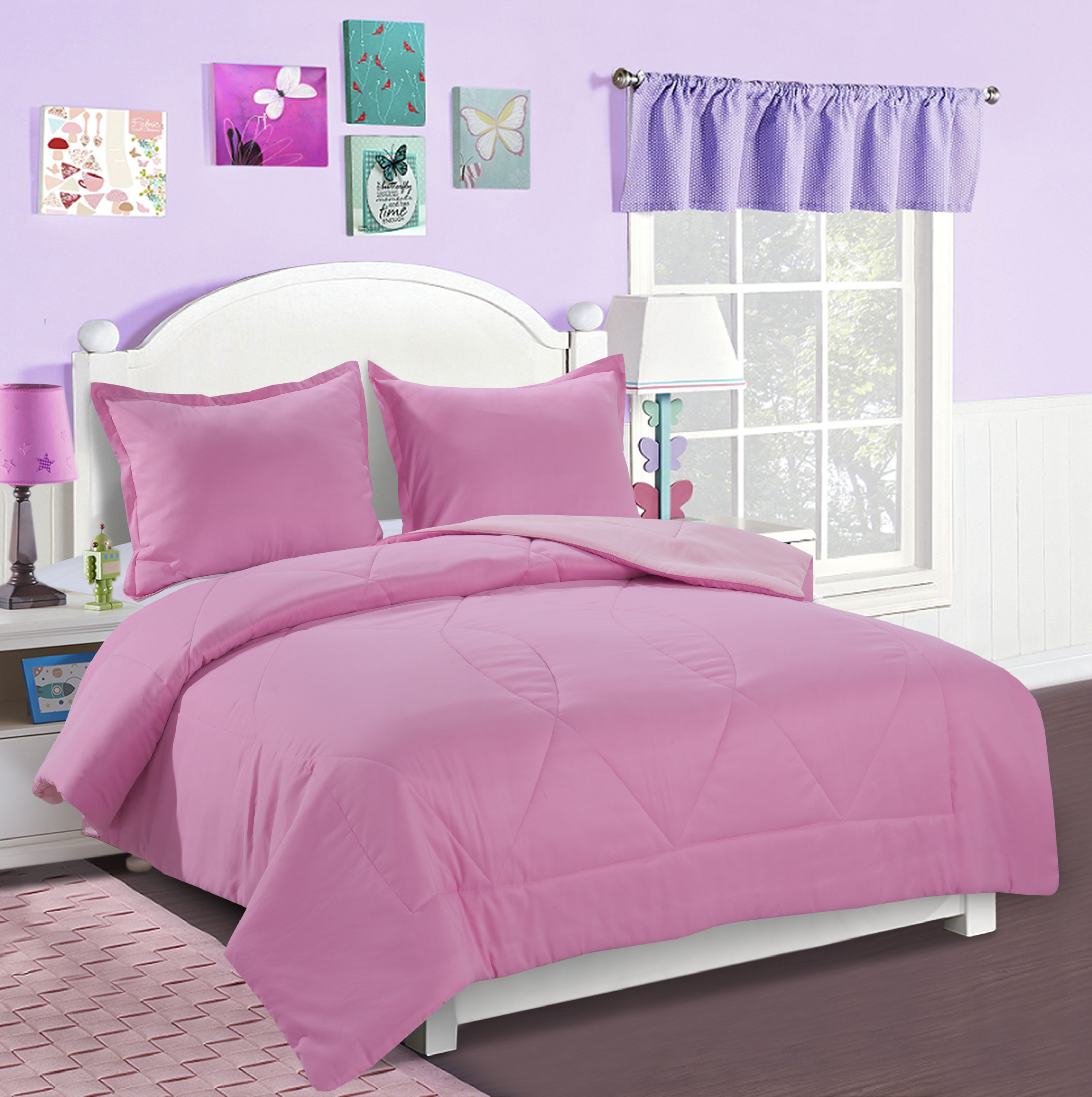 Mainstays Kids Solid Reversible Bedding Set