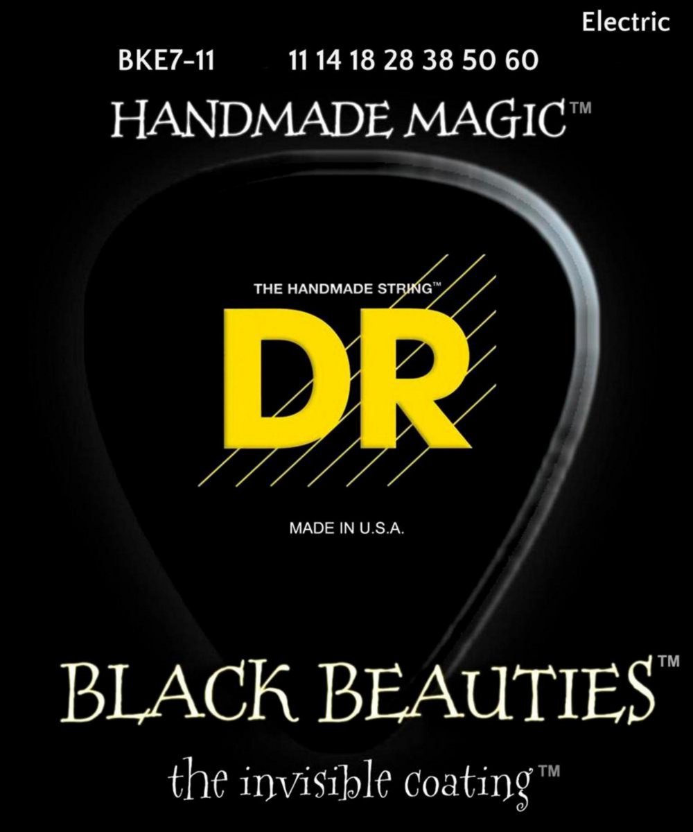 DR Strings BLACK BEAUTIES Black Coated Heavy 7-String Electric Guitar Strings (11-60) by DR Strings