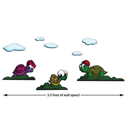 ZWalls Turtle Friends 8 Piece Scene 3D Cartoon Wall Art