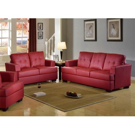 Beverly Fine Furniture Deliah Minimalist Bonded Leather Living Room Sofa Set Red 2 Piece