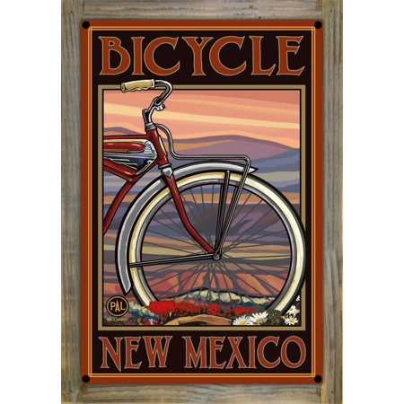 """Bicycle New Mexico Old Half Bike Metal Print on Reclaimed Barn Wood by Paul A. Lanquist (12"""" x 18"""")"""