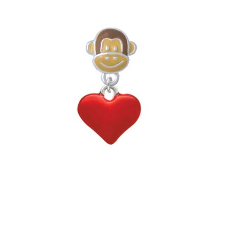 3-D Translucent Red Puff Heart - Monkey Face Charm Bead