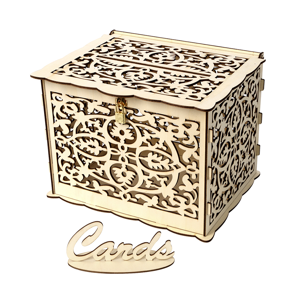 Wedding Card Box With Lock Rustic Wood Gift Box Card Holder For