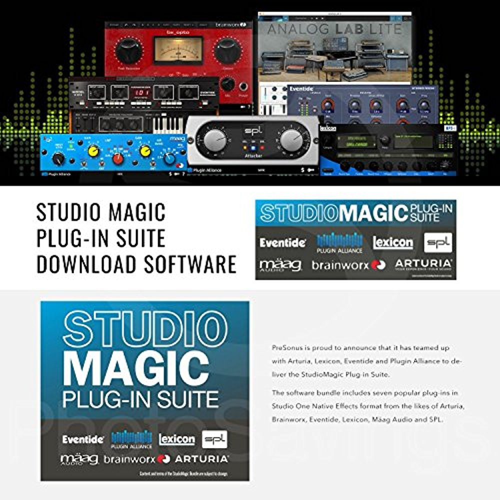 PreSonus FaderPort 8 channel Mix Production Controller with PreSonus  StudioBox iTwo Bus-Powered Audio/MIDI Interface and Platinum Studio Bundle