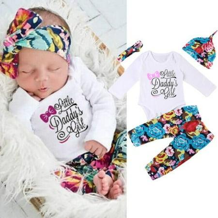 Emmababy - Baby Newborn Baby Girls Cotton Tops Romper Pants Pants Hat  Headband Outfits 4Pcs Set - Walmart.com f1141cf17fa
