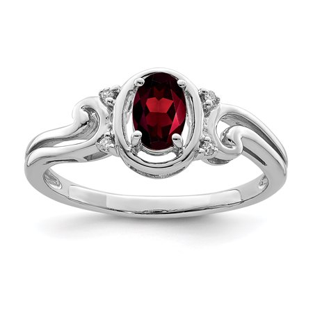 925 Sterling Silver Diamond Red Garnet Oval Band Ring Size 7.00 Gemstone Gifts For Women For (Garnet Oval Gemstones)