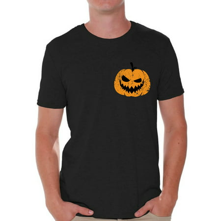 Awkward Styles Jack O'Lantern Pumpkin Shirt for Men Halloween Pumpkin Pocket Shirt for Men Spooky Pumpkin Face Tee Spooky and Easy Pumpkin Halloween Costume for Guys - Halloween Face Paint Ideas Guys