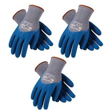 3 Pack Maxiflex ComfortTM Work Gloves 34-9025 Nitrile Coated Grip on Palm & Fingers Available in Sizes Small to X-large (Extra Large), Cut -Resistant Seamless.., By ATG